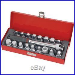 19 Piece Oil Drain Sump Plug Sockets Set in Metal Box Garage Tool Pro