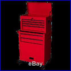 2 Pc Rolling Locking Mobile Tool Box Storage Chest Cart Metal 6 Drawer Garage