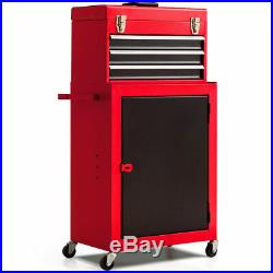 2 in 1 Mini Tool Chest and Cabinet Storage Box Rolling Garage Toolbox Organizer