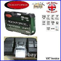 216 pcs Ratchet Socket Set 1/2 1/4 3/8 Tools Toolbox RF-38841 Professional