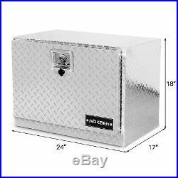 24 Aluminum Diamond Plate Tool Box Truck Underbody Storage Lock WithKey, Silver