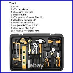 258PC Mechanic Tool Kit Set W- Rolling Box, Metric Tool Wrench Socket, Screwdriver