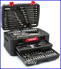 268 Piece Mechanics Tool Set w Husky Storage Box Drawer Case Socket SAE Metric