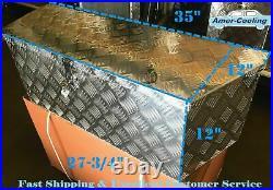 35L Aluminum Tongue Underbody Tool Box withLock Trailer RV Tool Storage Bed
