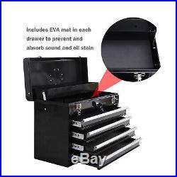 4 Drawer Tool Chest Storage Cabinet Top Compartment Lockable Organizer Garage