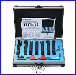 7 Pc 1/2 Indexable Carbide Turning Tool Set in Fitted Box, #2387-2004