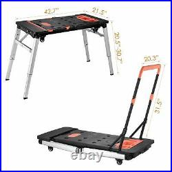 7-in-1 Portable Workbench Multifunctional Folding Work Table Scaffold Dolly NEW