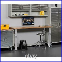 72 Adjustable Height Heavy-Duty Wood Top Workbench Hardwood Tabletop Sturdy