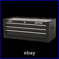 AP223B Sealey Mid-Box 3 Drawer with Ball Bearing Slides Black Tool Chests