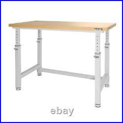 Adjustable Height Heavy Duty Wood Top Workbench Garage, Workshop, Work Bench