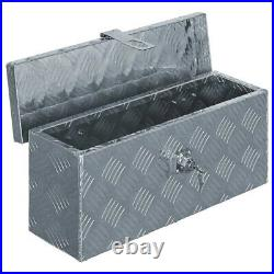 Aluminum Tool Box Storage for Truck Pickup Bed Trailer Tongue withLock Silver New