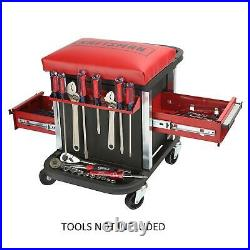 Craftsman Garage Glider Sliding Rolling Portable Tool Chest Seat Stool 2 Drawer