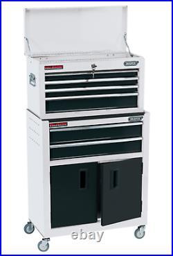 Draper 6 Drawer White Metal Tool Chest Ball Bearing Rollers Storage Cabinet Box