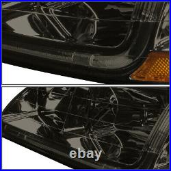 For 1998-2002 Honda Accord LED DRL Tube Smoked Amber Side Headlights+Tool Box