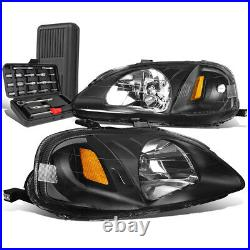 For 1999-2000 Honda Civic Pair Black/Amber Signal Headlight Head Lamp+Tool Box