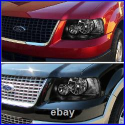For 2003-2006 Ford Expedition Pair Black/Clear Turn Signal Headlights+Tool Box