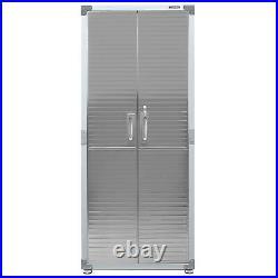 Heavy Duty 2-Door Medium Garage Cabinet Lockable Stainless Steel 4 Shelves