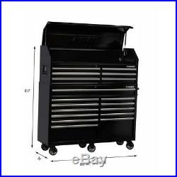 Husky 18 Drawer Tool Box and Rolling Cabinet Combo with Integrated Power Strip