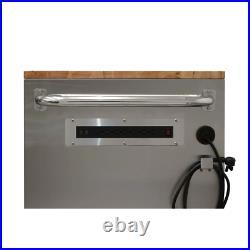 Husky Mobile Workbench 52 in. 5-Drawer 1-Shelf Worktop Lockable Stainless Steel