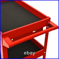 IRONMAX Three Tray Tool Cart Organizer Rolling utility Decker withDrawer Red