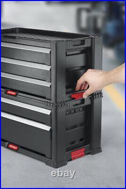 Keter 5-Drawer Modular Garage Tool Storage Organizer Plastic Swivel Caster Black