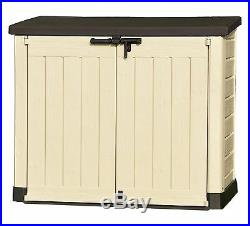 Keter Large Garden Storage Box Plastic Outdoor Wheelie Bin Bike Tool Store Shed