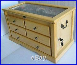 Knife Display Case Storage Cabinet with Shadow Box Top, Tool Box, KC07-NAT