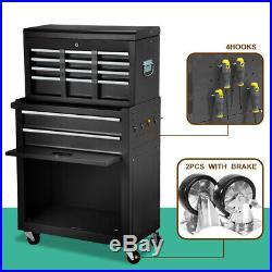 Large 8-Drawer Tool Box Chest Metal Rolling Cabinet Storage Garage Top Detach