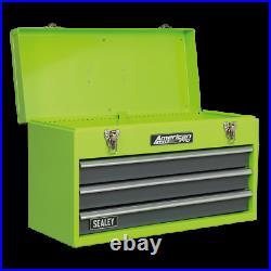 Last Few! Tool Chest 3 Drawer GREEN HI VIS TOOLBOX TOOL KIT Ball Bearing Slides