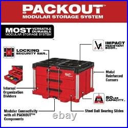 MILWAUKEE PACKOUT Tool Box Lockable Storage 3 Drawer 50 lbs Weight Capacity