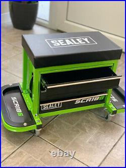 Mechanic Utility Seat Toolbox Hi Vis BRIGHT GREEN Oil Resistant Castor wheels