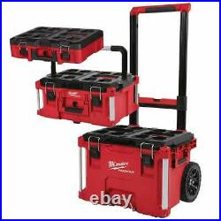 Milwaukee Large Rolling Toolbox on Wheels Packout Storage Case Job Chest 3 pc