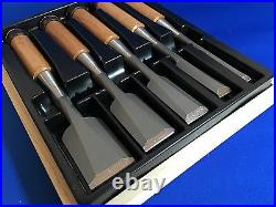 New Set of five Chisel NOMIKATSU with wood Box Carpenter tool Japanese NOMI