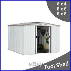 Outdoor Storage Shed Kit Tool Garage Metal Space Saver Lawn Backyard Yard 3 Size