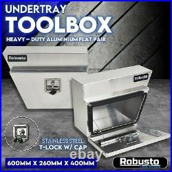 Pair of Under Tray Undertray Tool Box Aluminium Alloy Underbody Toolbox 600mm