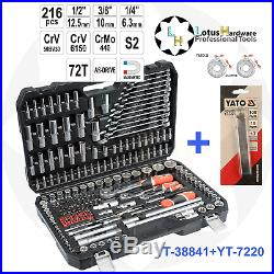 Ratchet Socket Set 1/2 3/8 1/4 216pcs Toolbox AS-DRIVE Yato YT-38841+YT-7220
