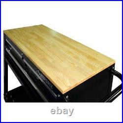Rolling Tool Cart Mobile Mechanic Garage Utility Husky 3-Drawer Wood Top Black