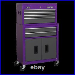 Sealey American Pro AP2200BBCP Top Chest & Roll Cab Tool Box Stack Purple