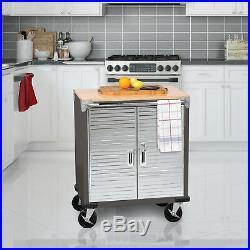 Seville 2-Door Rolling Cabinet Storage Tool Box Cart Workbench 5 Casters Shelf