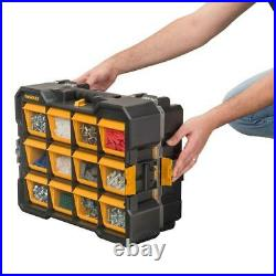 Small Parts Organizer Storage 12-Compartment Flip Bin Nail Screws Bolts Nuts NEW
