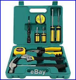 Tech Professional 12 Pcs Basic Hand Carry Tool Kit Box Fix Repair Home Tools Set