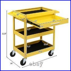 Three Tray Rolling Tool Cart Mechanic Cabinet Storage Organizer withDrawer Yellow