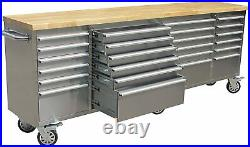 Tool Chest PRO with Work Stations 96 W 24 Drawer Stainless Steel More Durable