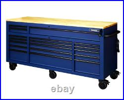 Tool Chest Work Bench Cabinet Adjustable Wood Top 72 in Rolling Garage BLUE