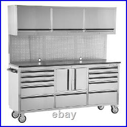 Tools Gray Rolling Tool Cabinet Combo 72 W x 18 D x 71.5 H
