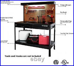 Tough Multi Purpose Workbench Table With LED Light Steel Frame Garage Tool Storage