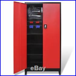 VidaXL Tool Cabinet Steel Sturdy Black Red Storage Organizer Garage Key Lock