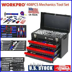 WORKPRO 408 Piece Mechanics Tool Set With 3 Drawer Heavy Duty Metal Tool Box New