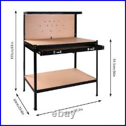 Work bench Tools Storage Shelf with Drawer Workbench Workshop Table Hobby Steel US