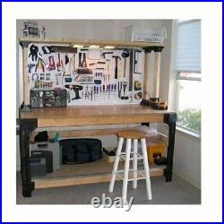 Workbench Garage Shop Work Table Shelves Legs DIY Lumber & Tools Not Included